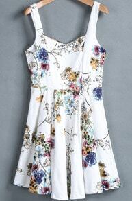White Spaghetti Strap Floral Slim Pleated Dress