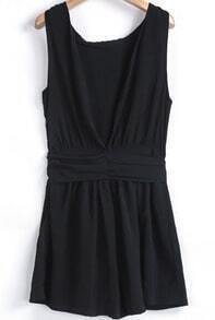 Black Sleeveless Backless Bow Slim Dress