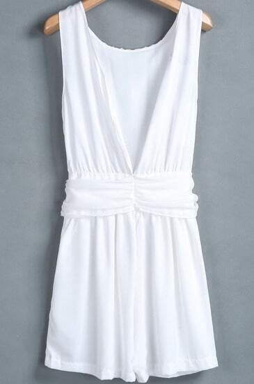White Sleeveless Backless Bow Slim Dress