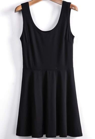Black Scoop Neck Sleeveless Pleated Tank Dress