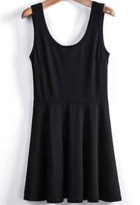 Black Scoop Neck Sleeveless Pleated Tank Dress