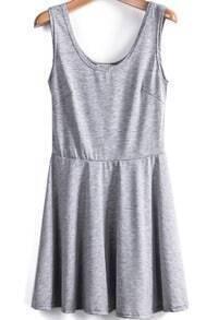 Grey Scoop Neck Sleeveless Pleated Tank Dress