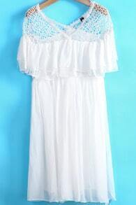 White Contrast Hollow Lace Pleated Chiffon Dress