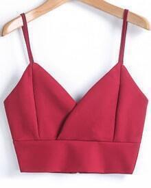 Red Spaghetti Strap Zipper Crop Vest