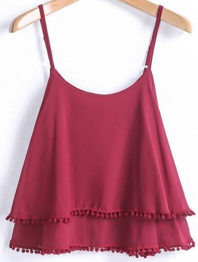 Red Spaghetti Strap Double Layers Chiffon Vest