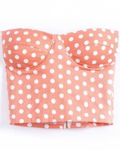 Orange Strapless Polka Dot Zipper Vest