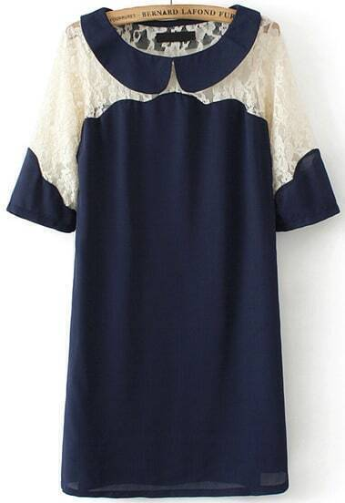 Navy Contrast Hollow Lace Short Sleeve Straight Dress