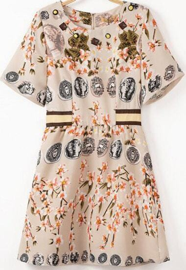 Beige Short Sleeve Vintage Floral Coins Print Dress