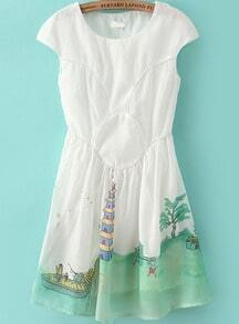 White Short Sleeve Landscape Print Dress