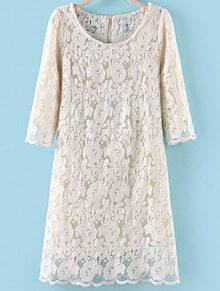 White Half Sleeve Floral Crochet Lace Dress