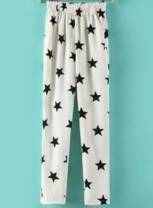 White Elastic Waist Stars Print Loose Pant