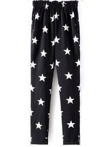 Black Elastic Waist Stars Print Loose Pant