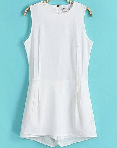 White Sleeveless Pockets Back Zipper Jumpsuit