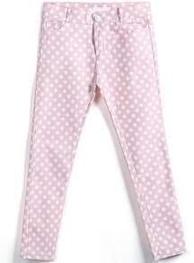 Pink Pockets Polka Dot Elastic Pant