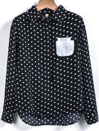Black Long Sleeve Polka Dot Pocket Blouse