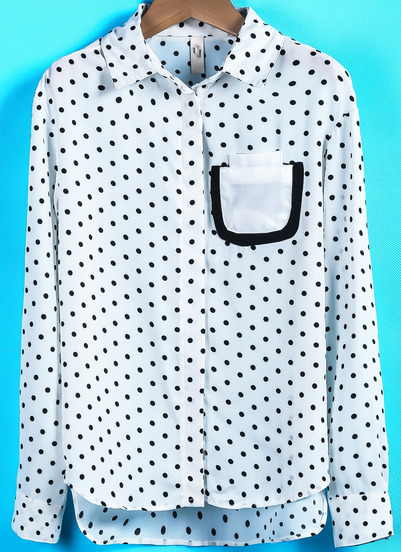 White Long Sleeve Polka Dot Pocket Blouse