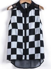 Black White Plaid Sleeveless Chiffon Blouse