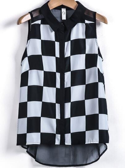Black White Plaid Sleeveless Chiffon Blouse