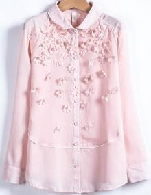Pink Long Sleeve Applique Chiffon Blouse