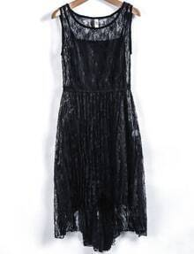 Black Sleeveless Hollow Lace Pleated Dress