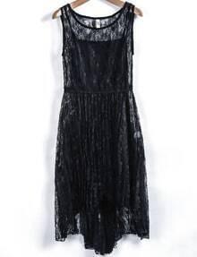 Black Sleeveless Hollow Lace Pleated Dress
