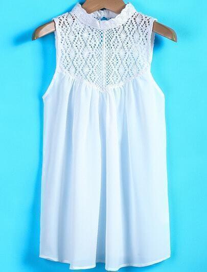White Contrast Lace Sleeveless Chiffon Blouse