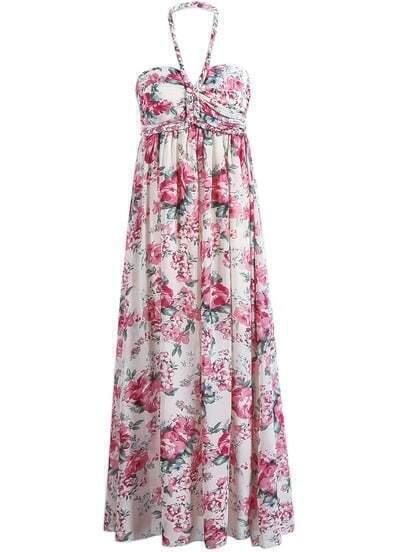 Apricot Red Halter Floral Pleated Chiffon Dress