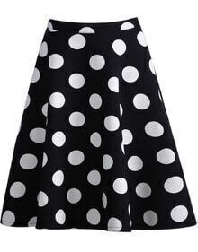 Black Polka Dot Straight Skirt