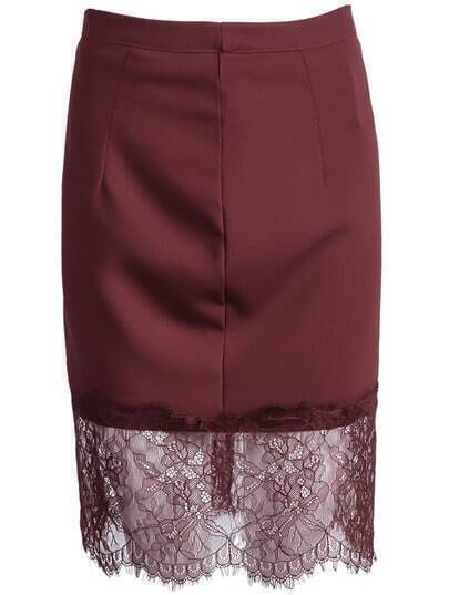 Wine Red Contrast Lace Bodycon Skirt