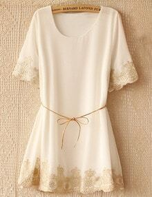 White Short Sleeve Lace Embroidery Top