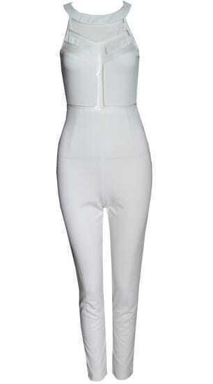 White Sleeveless Contrast Mesh Yoke Jumpsuit