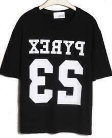 Black Short Sleeve Letters 23 Print T-Shirt