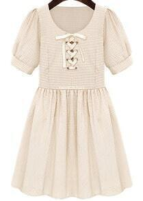 Apricot Short Sleeve Bandage Pleated Dress