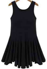 Black Sleeveless Mid Waist Pleated Tank Dress