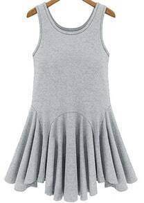 Grey Sleeveless Mid Waist Pleated Tank Dress