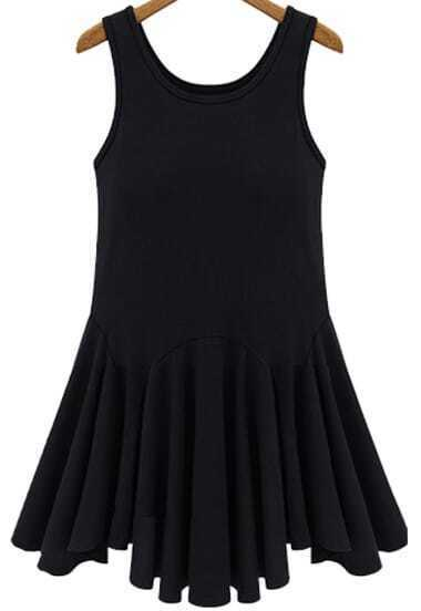 Black Sleeveless Mid Waist Pleated Tank Dress