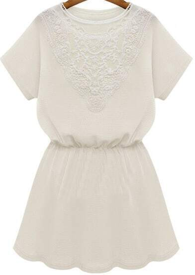 White Short Sleeve Contrast Lace Ruffle Dress