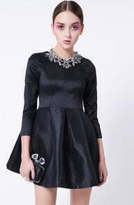 Black Round Neck Elastic Slim Flare Dress