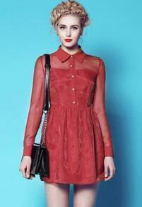 Wine Red Long Sleeve Organza Flare Dress
