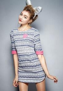 Blue Half Sleeve Vintage Geometric Print Dress
