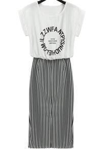 White Short Sleeve Letters Print Striped Dress