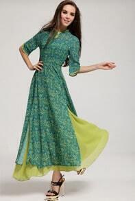 Green Half Sleeve Floral Split Full Length Dress