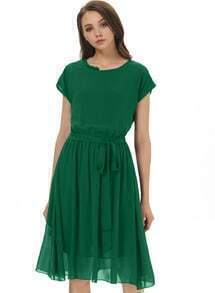 Green Short Sleeve Belt Pleated Chiffon Dress