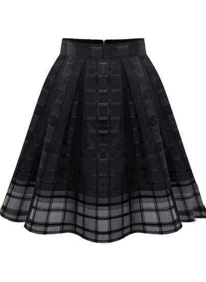 Black Zipper Plaid Pleated Chiffon Skirt