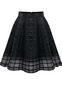 Black Zipper Plaid Pleated Chiffon Skirt