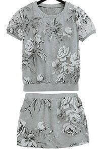 Grey Short Sleeve Contrast Organza Floral Top With Skirt