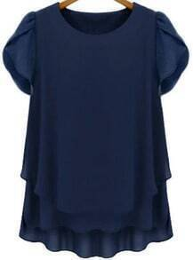 Blue Short Sleeve Loose Chiffon Blouse