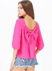 Rose Red Long Sleeve Bowknot Backless Blouse