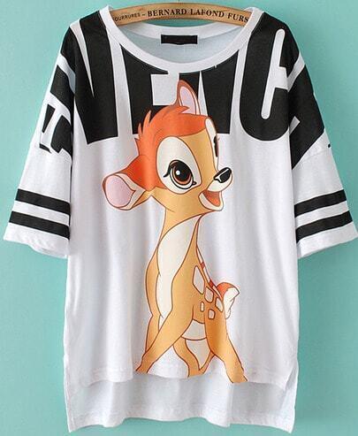 White Short Sleeve Deer Print Dipped Hem T-Shirt