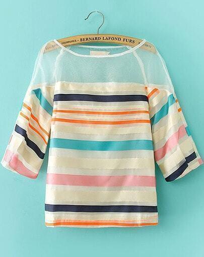 Multicolor Half Sleeve Striped Contrast Organza Blouse